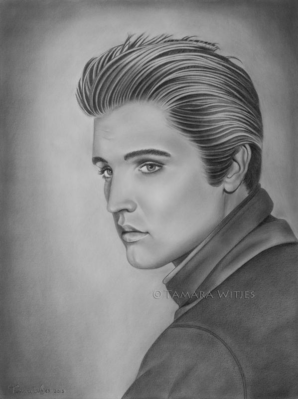 Potlood portret Elvis Presley portrettekenaar