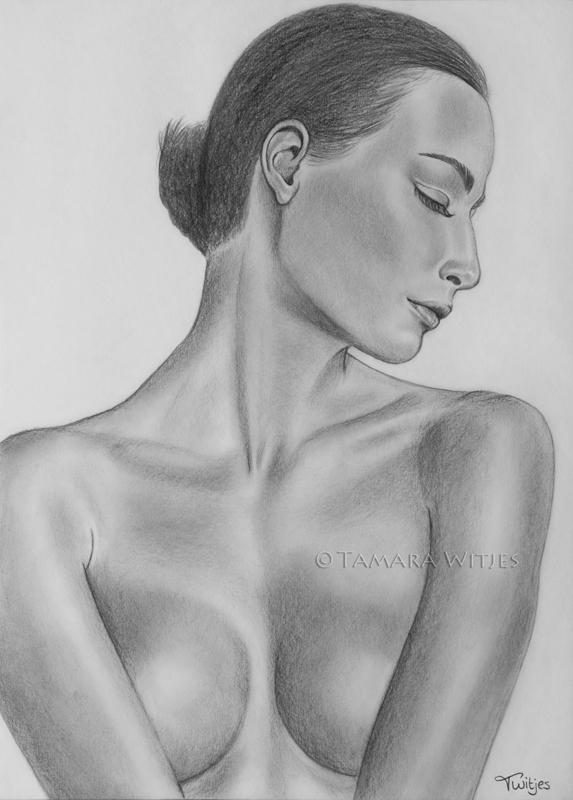 Portrettekening naakte vrouw betaalbare prijs